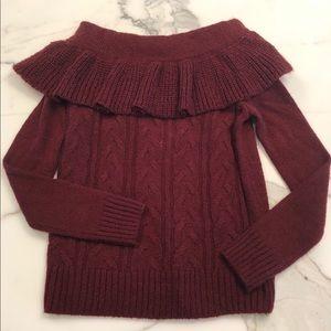 Dark Cranberry Off-Shoulder Sweater